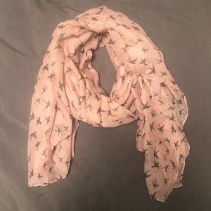 Brand new pink scarf with bird print